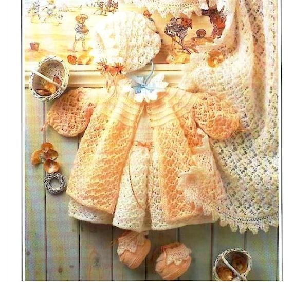 Knit Baby Layette Dress Matinee Coat Bonnet Booties Shawl Etsy