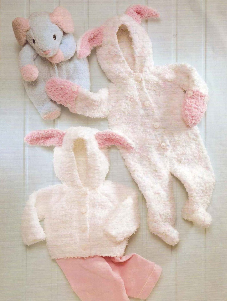 Knit Baby Bunny Jumper and Jacket PdfOhhhBabyBaby knitting romper jumpsuit snow suit pullover retro clothes girl boy pdf digital download