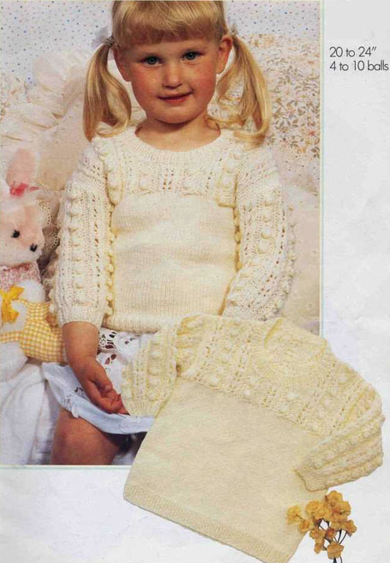8164c413ae3f Knit Bobble Sweater Vintage Pattern baby toddler jumper