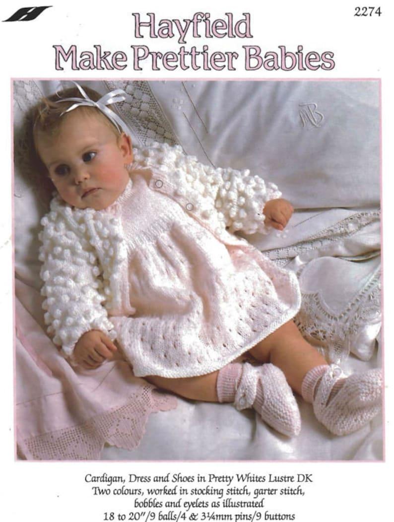 48ecc43c24c4 Knit Baby Cardigan and Booties Vintage Pattern toddler