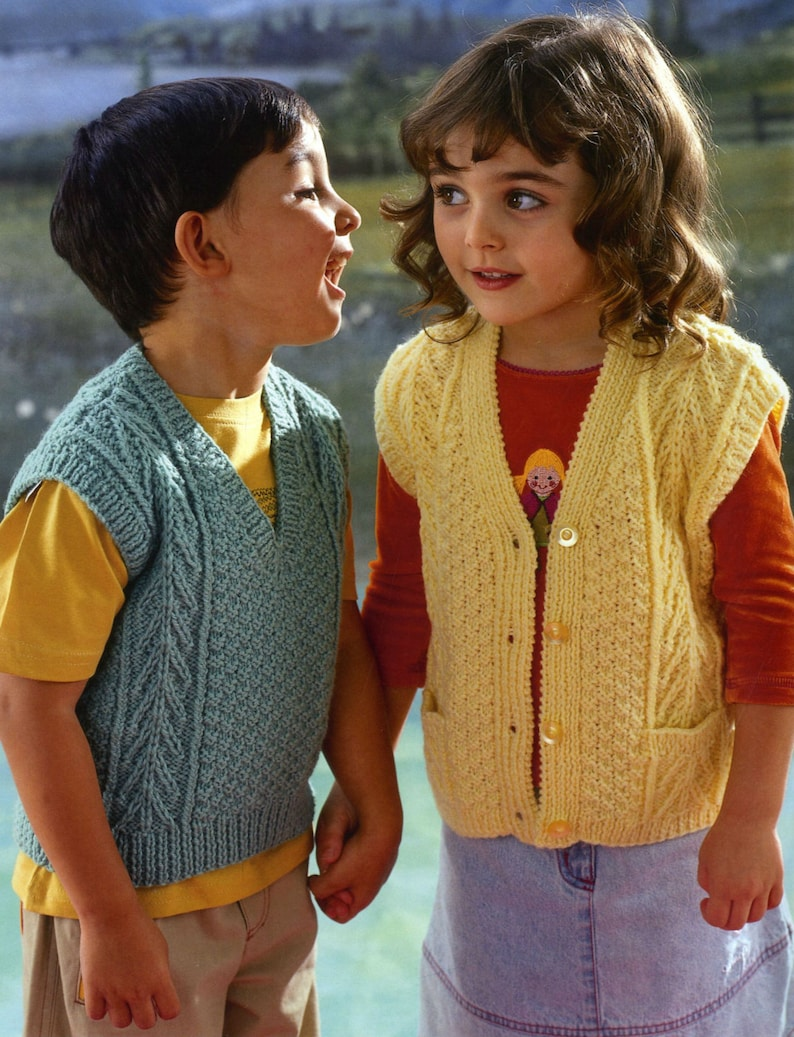 022ba5703db3 Vintage Knitting Pattern Childrens Cabled Vest and Cardigan