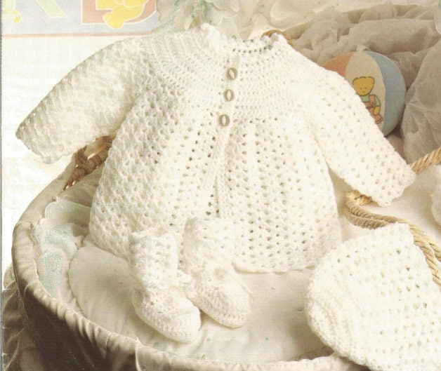 Crochet Baby Matinee Coat Bonnet and Booties Vintage | Etsy