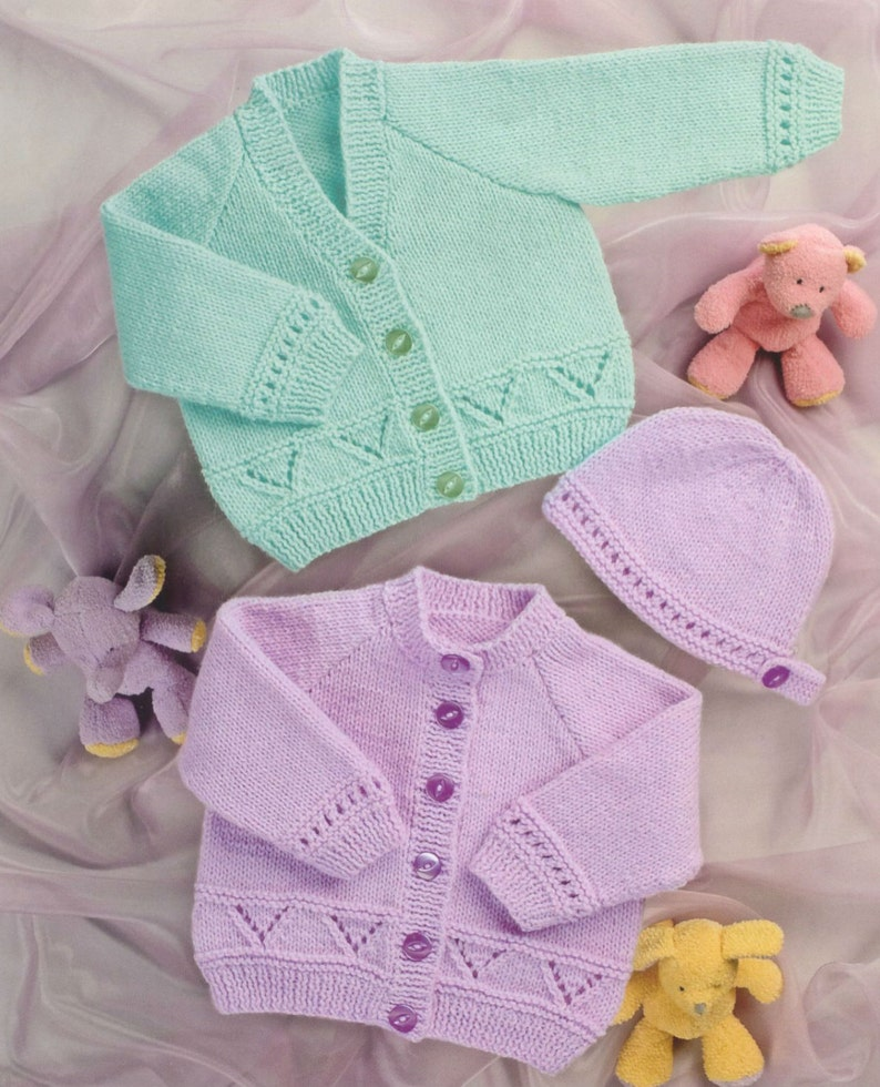 eab608653260 Knit Baby Matinee Coat and Bonnet Vintage Pattern knitting v