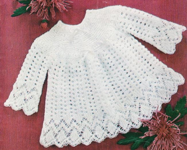 Knit Baby Matinee Coat Vintage Knitting Pattern Christening | Etsy
