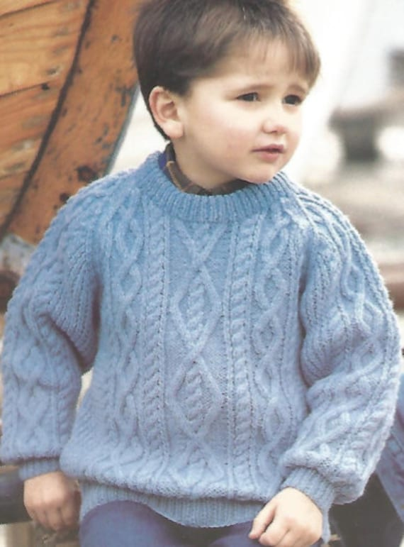 Vintage Knitting Pattern Childs Chunky Cabled Sweater Etsy