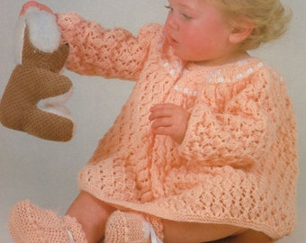 Baby Knit Lace Dress and Booties  /OhhhBabyBaby/  round neck long sleeve pattern Vintage  pdf instant  download