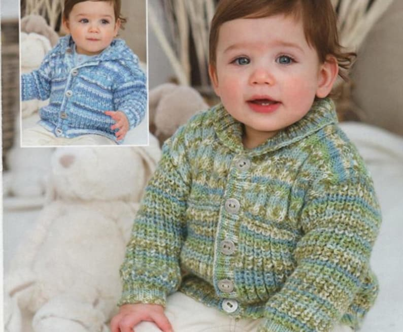 24456a77b Knit Baby Cardigan Sweaters with Round Neck and Hood Buttoned