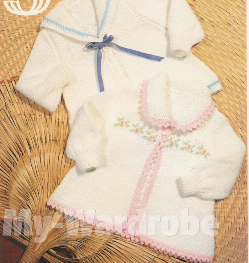 d8f7e5ffa381 Knit Baby V-Neck and Round Neck Matinee Coat Patterns Boy