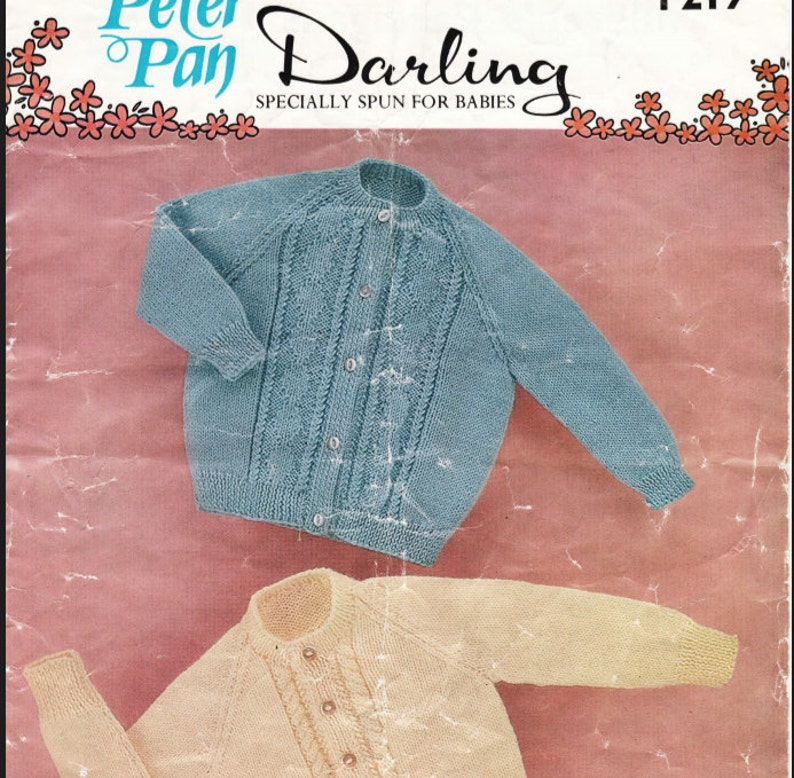 34cfa2a4b5a2 Knit Baby Cardigan Sweater Vintage Pattern  OhhhBabyBaby
