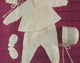 Babys Pram Set Knit Pattern Vintage Coat Leggings Bonnet and Mittens /OhhhBabyBaby/Instant Download Pdf