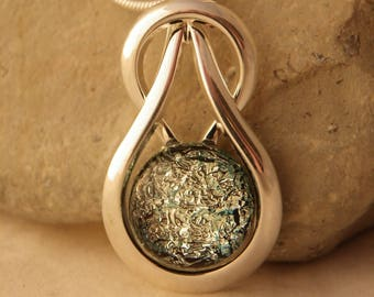 Silver Sparkle Dichroic Glass Celtic Knot Pendant with Chain