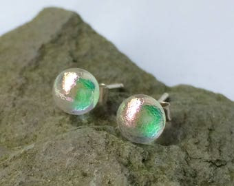 Little Green Pink Round Dichroic Glass Studs with 925 Sterling Silver Posts and Backs