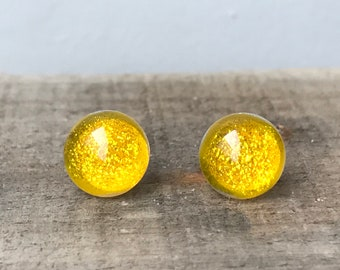 Sunny Yellow Mermaid Tears Dichroic Glass Sparkling Golden Yellow Fused Glass Stud Earrings