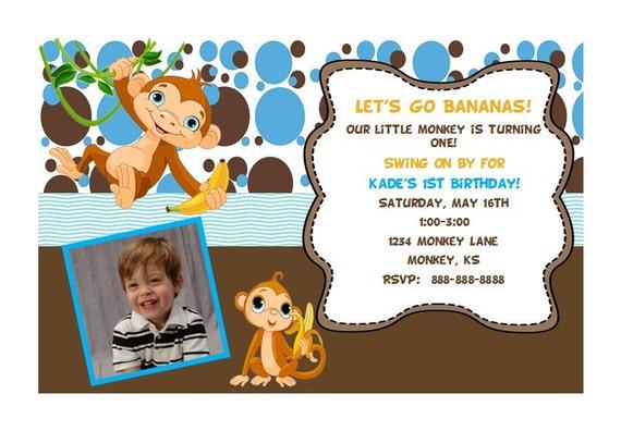 Monkey first birthday invitation etsy image 0 filmwisefo