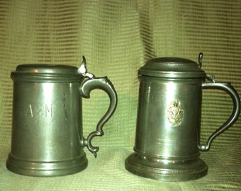 Pewter Lidded Tankards, set of 2