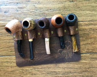 Leather Wall Pipe Organizer/Pipe Rack