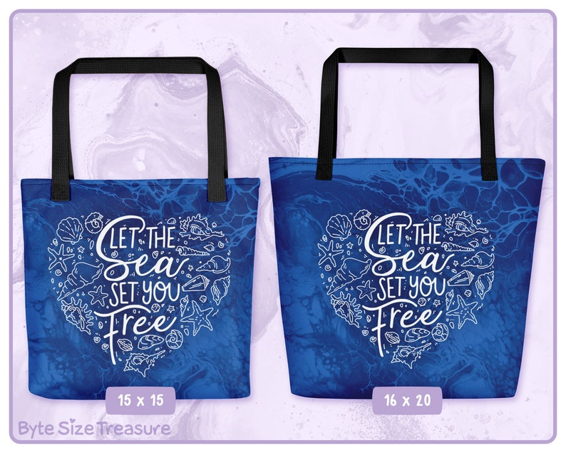 Let the Sea Set You Free Tote Bag // Protect the Ocean Ocean image 0