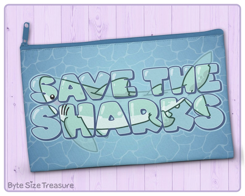 Zipper Pouch Save the Sharks  Great as a Cosmetic Bag image 0