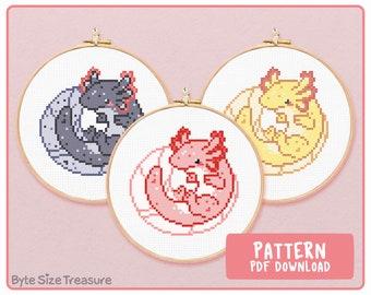 Axolotl Cross Stitch Downloadable \\ PDF Pattern Only