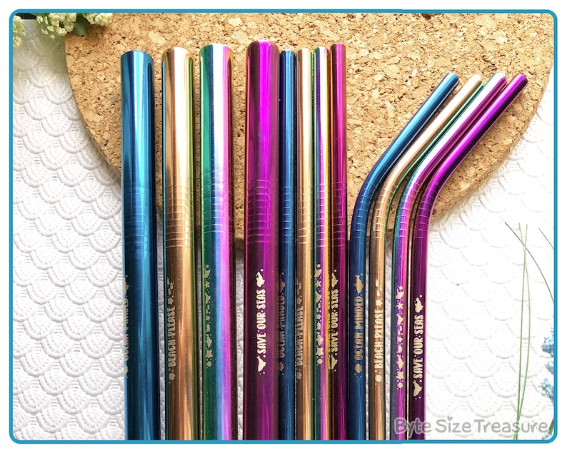 Stainless Steel Reusable Straw Sets // Eco Friendly Metal image 0