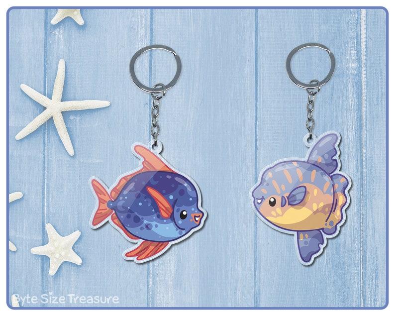 Sunfish and Moonfish Acrylic Keychains  Cute Ocean Fish Key image 0