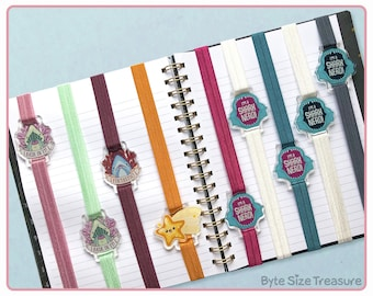 Elastic Bookband Bookmarks // Cute Sea Creature Charms // Planner, Journal, Diary, Sketchbook Bands