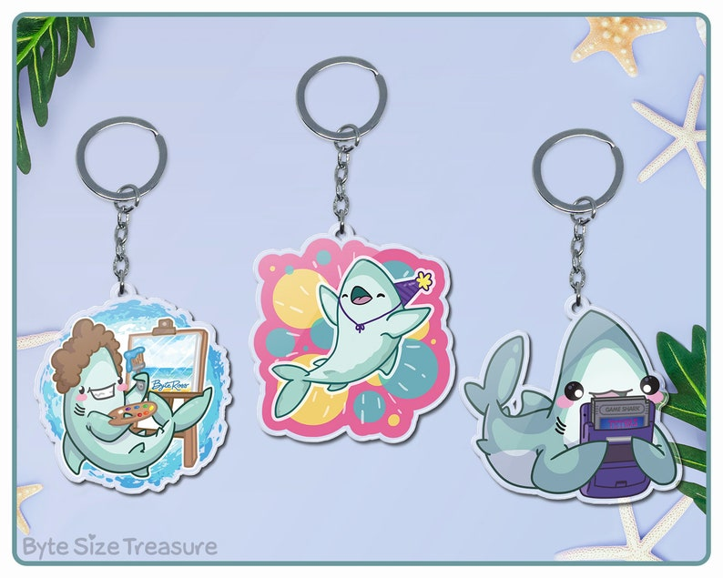 Cute and Funny Shark Keychains  Painting Shark Party Shark image 0