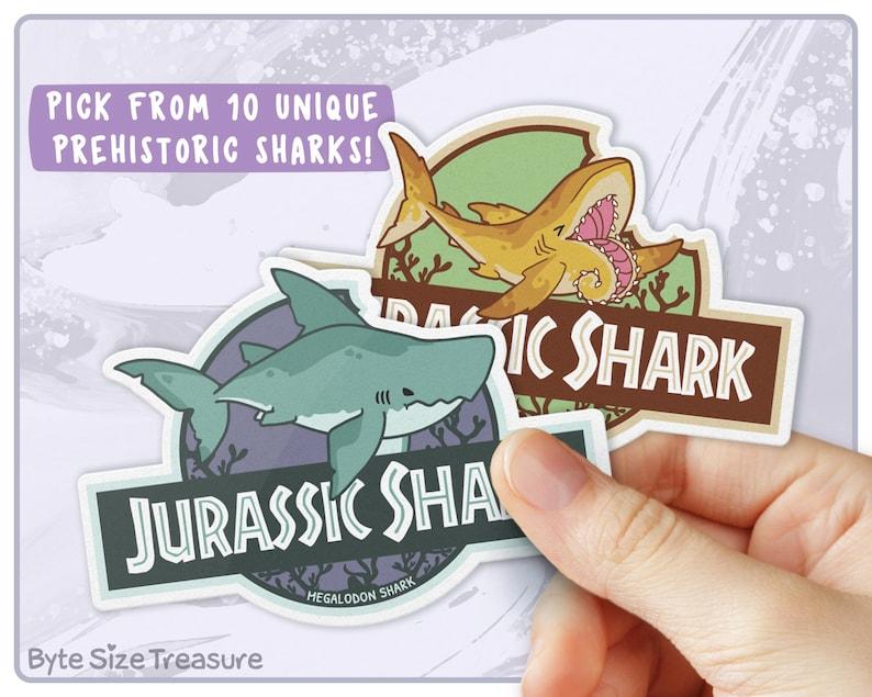 JURASSIC SHARK Sticker // Water-proof Vinyl Sticker  Great image 0