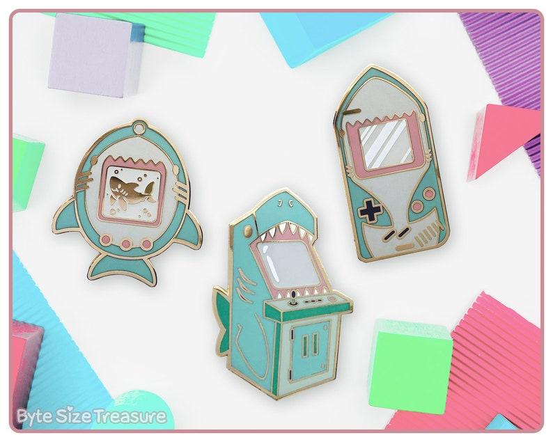 Game Shark Hard Enamel Pins // Glow in the Dark // Kawaii image 0