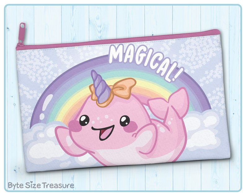Zipper Pouch Magical Narwhal  Great as a Cosmetic Bag image 0
