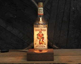 Captain Morgan's Rum Table Lamp - Features Reclaimed Wood Base, Edison Bulb, Twisted Cloth Wire, In line Switch, And Plug, Handmade Light
