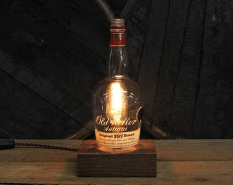 Old Weller Antique 107 Table Lamp - Features Reclaimed Wood Base, Edison Bulb, Twisted Cloth Wire, In line Switch, And Plug, Handmade Light