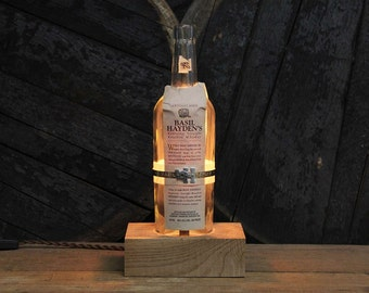 Basil Hayden Bourbon Bottle Lamp - Features Reclaimed Wood Base, Edison Bulb, Twisted Cloth Wire, In line Switch, And Plug, Handmade Light