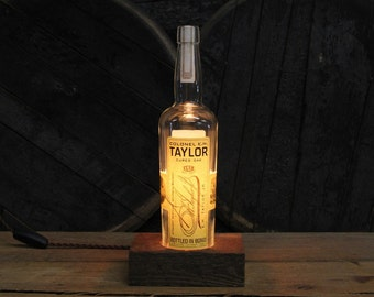 Colonel E.H. Taylor Cured Oak Lamp - Features Reclaimed Wood Base, Edison Bulb, Twisted Cloth Wire, In line Switch, And Plug, Handmade Light