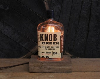 Knob Creek Small Batch Bottle Lamp - Features Reclaimed Wood Base, Edison Bulb, Twisted Cloth Wire, In line Switch, And Plug, Handmade Light