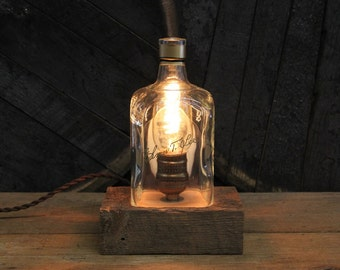 Elmer T. Lee Bourbon Bottle Lamp - Features Reclaimed Wood Base, Edison Bulb, Twisted Cloth Wire, In line Switch, And Plug, Handmade Light