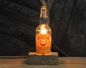 Handmade Recycled Antique Old Grand-Dad Bourbon Bottle Desk Lamp-Features Reclaimed Wood Base, Twisted Cloth Wire, In line Switch, Plug