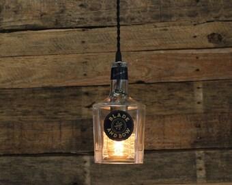 Blade & Bow Bourbon Pendant Light - Upcycled Industrial Glass Ceiling Light - Handmade Bourbon Bottle Light Fixture, Restaurant Lighting