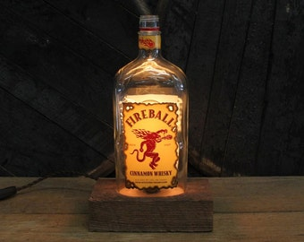 Fireball Whiskey Bottle Lamp - Features Reclaimed Wood Base, Edison Bulb, Twisted Cloth Wire, In line Switch, And Plug, Handmade Light