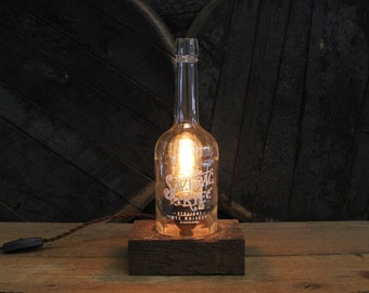 Sazerac Rye Whiskey Bottle Lamp - Features Reclaimed Wood Base, Edison Bulb, Twisted Cloth Wire, In line Switch, And Plug, Handmade Light