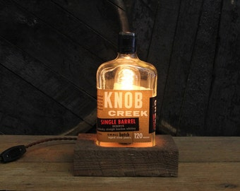 Knob Creek Single Barrel Bottle Lamp, Features Reclaimed Wood Base, Edison Bulb, Twisted Cloth Wire, In line Switch, & Plug, Handmade Light