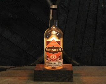 Rittenhouse Bourbon Bottle Lamp - Features Reclaimed Wood Base, Edison Bulb, Twisted Cloth Wire, In line Switch, And Plug, Handmade Light