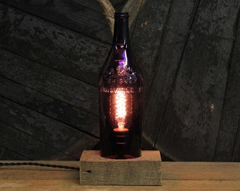 Handmade Recycled Antique Taylor & Williams Whiskey Bottle Desk Lamp, Reclaimed Wood Base, Twisted Cloth Wire, In line Switch, And Plug