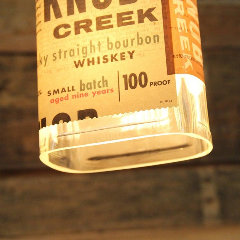 Restaurant Lighting Handmade Bourbon Bottle Light Fixture Upcycled Industrial Glass Ceiling Light Knob Creek Small Batch Pendant Light