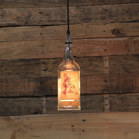 Recycled Lighting Old Fitzgerald Bottle Pendant Light Upcycled Industrial Glass Ceiling Light Handmade Bourbon Bottle Light Fixture