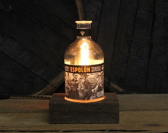 Espolon Tequila Table Lamp - Features Reclaimed Wood Base, Edison Bulb, Twisted Cloth Wire, In line Switch, And Plug, Handmade Light