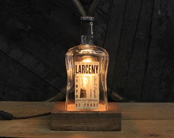 Larceny Bourbon Bottle Lamp, Features Reclaimed Wood Base, Edison Bulb, Twisted Cloth Wire, In line Switch, & Plug, Handmade Light, Whiskey