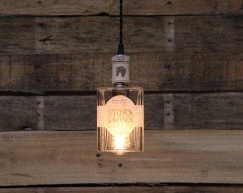 Town Branch Bottle Pendant Light - Upcycled Industrial Glass Ceiling Light - Handmade Bourbon Bottle Light Fixture, Restaurant Lighting