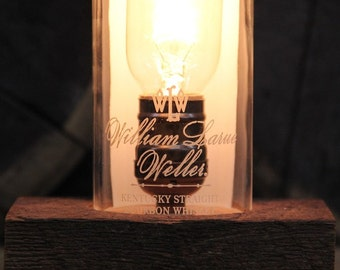 William Larue Weller Whiskey Bourbon Bottle Lamp - Reclaimed Wood Base, Edison Bulb, Twisted Cloth Wire, In line Switch, Plug, Custom Cord