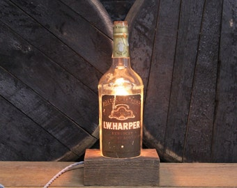 Handmade Recycled Antique I.W. Harper Whiskey Bottle Desk Lamp, Features Reclaimed Wood Base, Twisted Cloth Wire, In line Switch, And Plug